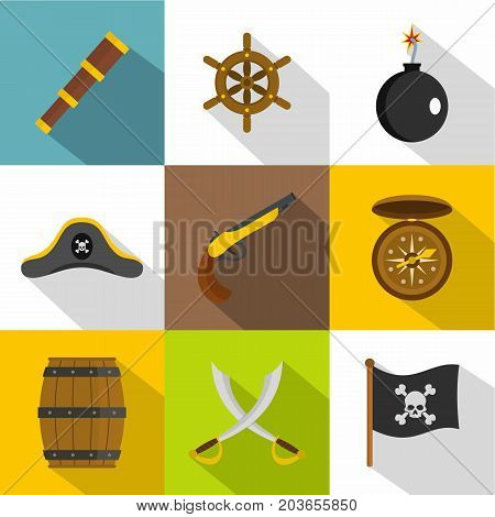 Pirate icon set. Flat style set of 9 pirate vector icons for web design