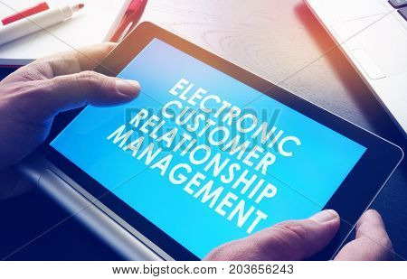 Tablet with ECRM electronic customer relationship management.