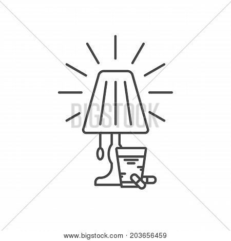 Vector simple thin line icon for well healthy night sleep isolated on white background. Sleep medicine pills and draughts with glass of milk. Sleep bedroom table light lamp