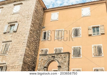 Fragment of the buildings of the old town of Budva, Montenegro. The first mention of this city is more than 2600 years ago.