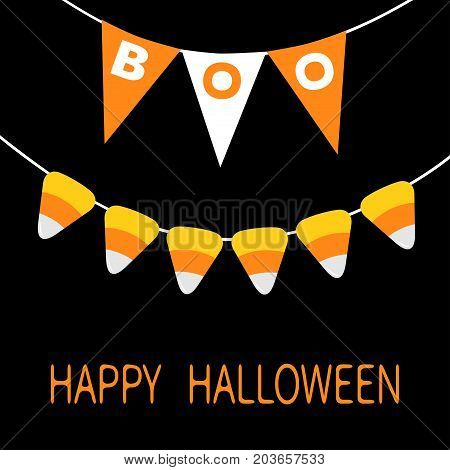 Happy Halloween card. Bunting flags pack Boo letters. Candy corn. Flag garland. Party decoration element. Hanging text on rope thread. Black white triangle set. Flat design. Black background. Vector