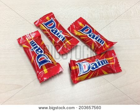 BANGKOK THAILAND 10 SEP 2017: Daim chocolate on the table, Daim Bar is a brand originated from Sweden, Holland and Norway in 1953 and is now marketed worldwide.