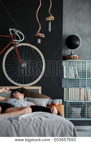 Manly Bedroom With Metal Shelf