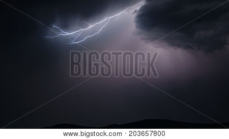 Long view of Lightning strike in the sky