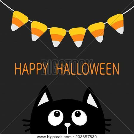 Cat face head silhouette looking up to Bunting flags Candy corn. Flag garland. Happy Halloween card. Party decoration element. Hanging text on rope thread. Flat design. Black background. Vector