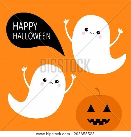 Flying ghost spirit set. Pumpkin smiling face. Happy Halloween. Two scary white ghosts. Cute cartoon spooky character. Frightening scaring hands. Orange background. Greeting card. Flat design. Vector