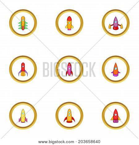 Interstellar spaceship icons set. Cartoon set of 9 interstellar spaceship vector icons for web isolated on white background