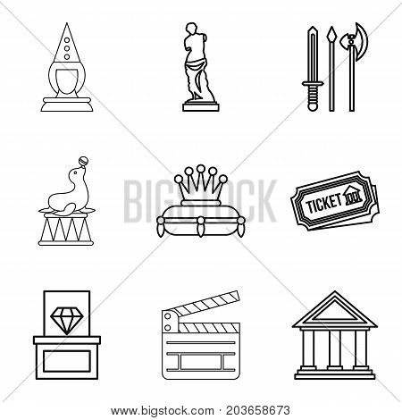 Reconstruction icons set. Outline set of 9 reconstruction vector icons for web isolated on white background