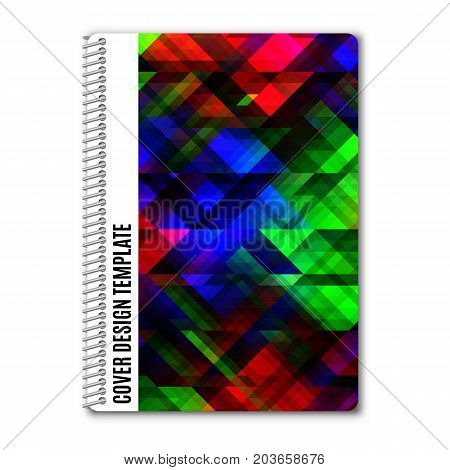 Template design covers for printing with bright abstract overlapping squares isolated on white background vector illustration.