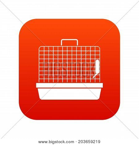 Cage for birds icon digital red for any design isolated on white vector illustration