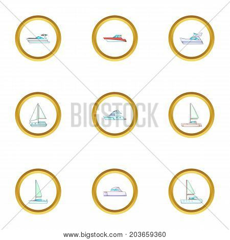 Pleasure boat icons set. Cartoon set of 9 pleasure boat vector icons for web isolated on white background