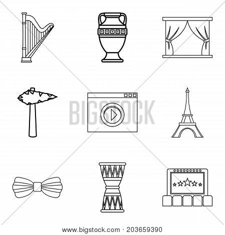 Reproduce icons set. Outline set of 9 reproduce vector icons for web isolated on white background
