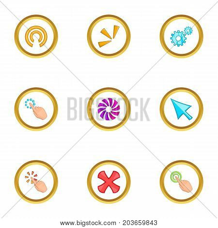 Loading cursor icons set. Cartoon set of 9 loading cursor vector icons for web isolated on white background