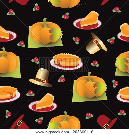 Thanksgiving Day. TEMPLATE. Seamless pattern. Composition on a black background for textiles, tapestries, packing materials.