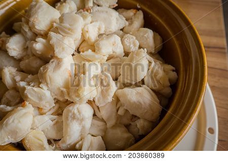 Crab meat cooked ready to eat image close up