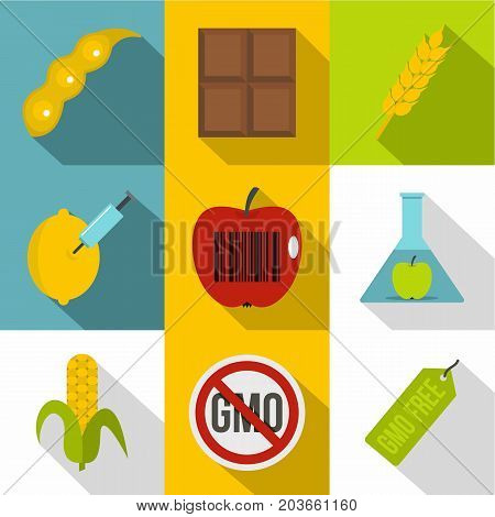 Biotechnology icon set. Flat style set of 9 biotechnology vector icons for web design