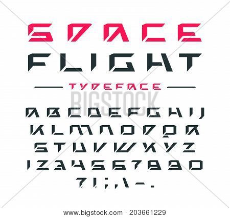 Futuristic font. Letters and numbers for sci-fi military cosmic logo and title design