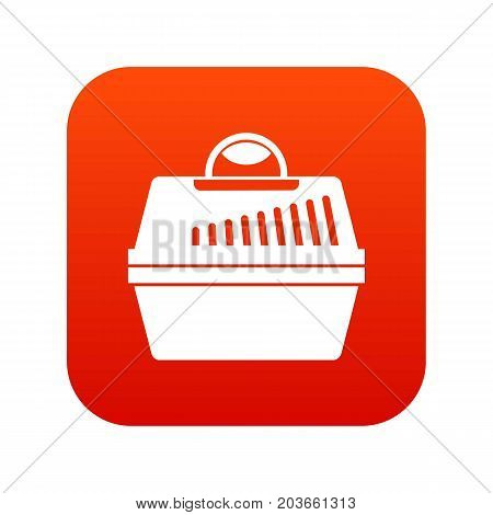 Portable cage for pets icon digital red for any design isolated on white vector illustration