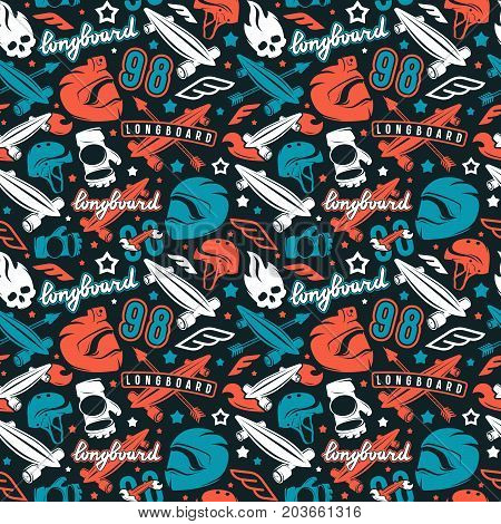 Seamless Pattern With Image Of Longboarding Equipment