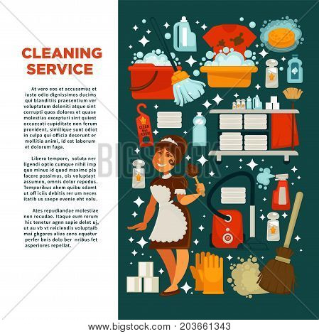 Cleaning service promotional poster with maid in uniform, big text, equipment for work, powerful cleaners, red vacuum cleaner, bucket with bubbles, toilet pepper and fresh towels vector illustrations.