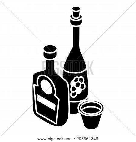 Wine, whiskey bottle icon. Simple illustration of wine, whiskey bottle vector icon for web design isolated on white background