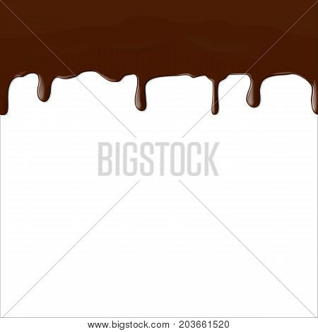 Vector illustration. A stream of liquid brown chocolate. Drops flow down from the top. Design background for poster, banner.