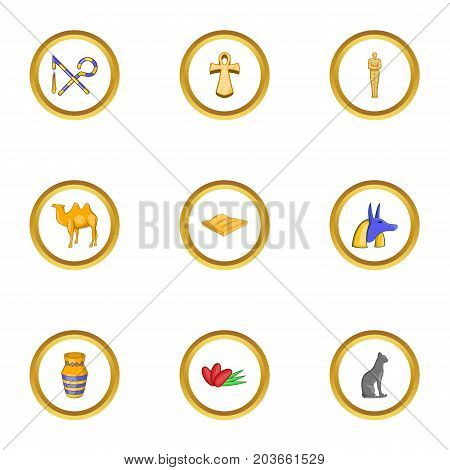 Egyptian pyramid icons set. Cartoon set of 9 egyptian pyramid vector icons for web isolated on white background