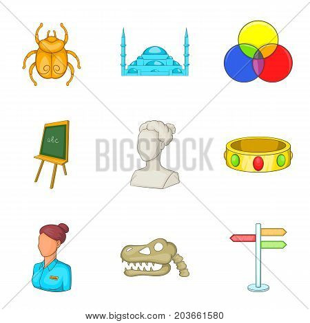 Requisite icons set. Cartoon set of 9 requisite vector icons for web isolated on white background