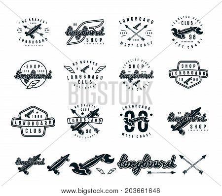 Set Of Longboard Emblems