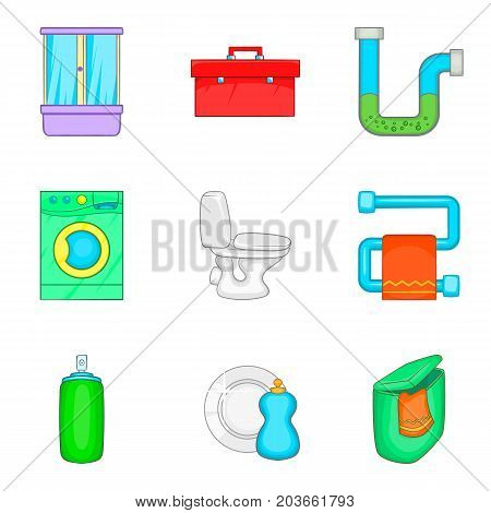 House cleaning icon set. Cartoon set of 9 house cleaning vector icons for web design isolated on white background