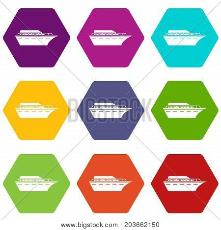 Powerboat icon set many color hexahedron isolated on white vector illustration