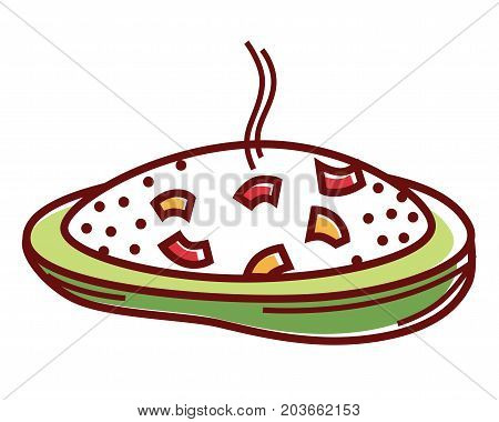 Stuffed zucchini slice with hot boiled vegetable rice and delicious cheese isolated cartoon flat vector illustration on white background. Creative healthy vegetarian food of organic products.