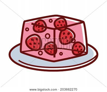 Strawberry jelly with whole fresh organic berries inside on plate isolated cartoon flat vector illustration on white background. Delicious tasty sweet vegetarian dessert with low calories contain.