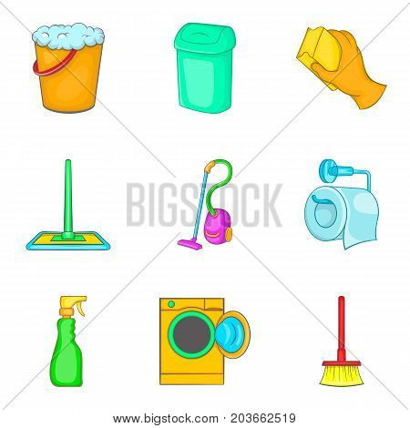 Floor cleaning icon set. Cartoon set of 9 floor cleaning vector icons for web design isolated on white background
