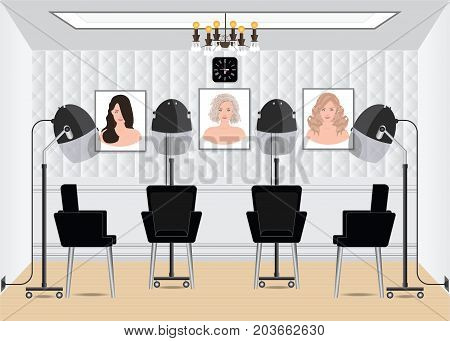 Hood hair dryer in beauty salon with poster hair style in salon interior hairdressing machine vector illustration.