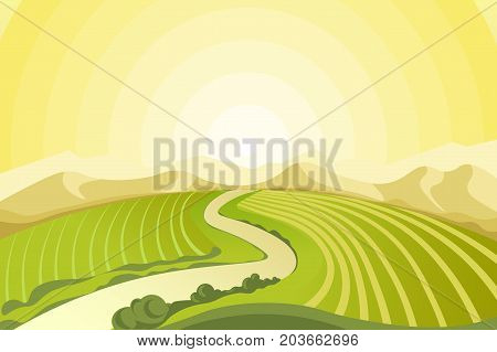 Amazing landscape of sunrise above plowed fields, narrow road, thick bushes and high rocky mountains at countryside vector illustration. Calm view of wild spring nature illuminated with sun light.