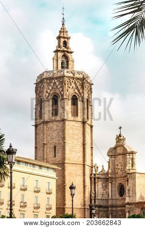 Torre del Micalet, o Miguelete bell tower, a landmark in Valencia, Spain