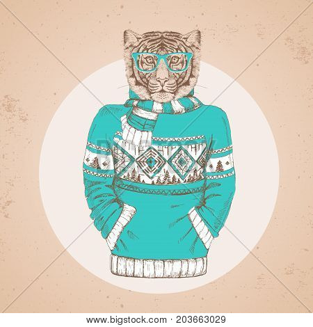 Retro Hipster fashion animal tiger dressed up in pullover. Hipster animals