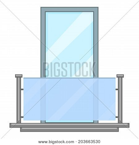 Glass balcony icon. Cartoon illustration of glass balcony vector icon for web