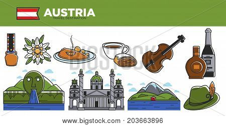 Australia travel destination promotional poster. Traditional cuisine, natural landscapes, ancient architecture, alcohol drinks, hat with feather and classic violin vector illustrations set.