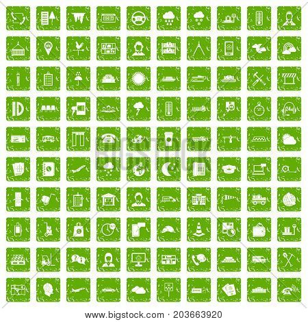 100 dispatcher icons set in grunge style green color isolated on white background vector illustration