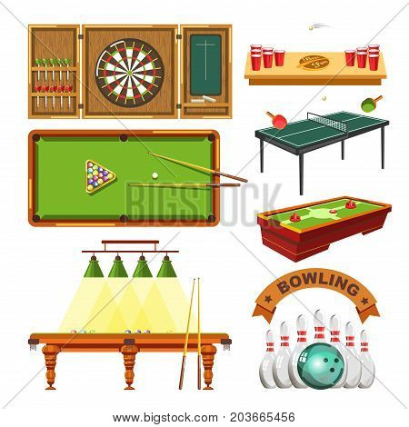 Sport games types of darts, billiards pool or beer ping pong, table tennis and bowling or tabletop soccer. Vector isolated flat icons set of sports game balls, playing tables and sporting equipment