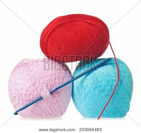 Woolen threads with crochet isolated over white background cutout