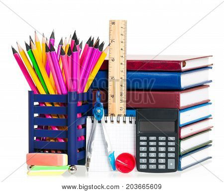 School books with pencils isolated on white background