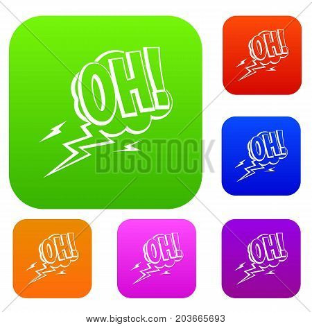 Oh, speech bubble set icon color in flat style isolated on white. Collection sings vector illustration