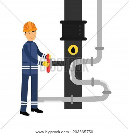 Oilman character working on an oil pipeline, oil industry production vector Illustration on a white background