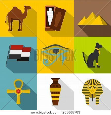 Ancient Egypt icon set. Flat style set of 9 ancient Egypt vector icons for web design