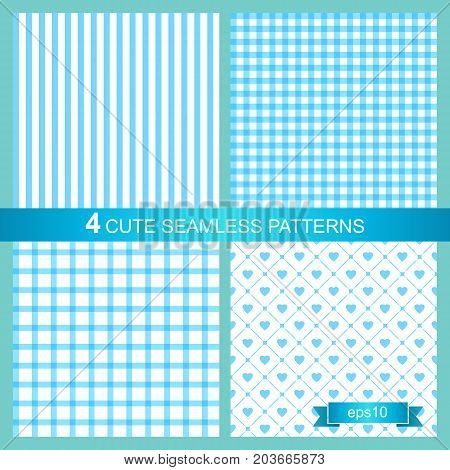 Set of four cute blue seamless patterns. Vector backgrounds.