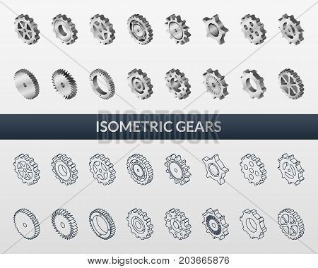 Vector illustration. Set of web icons mechanical gears on a white background. Isometric 3D. outline and colorful metal gears.