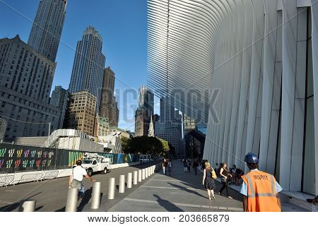 NEW YORK CITY - AUGUST 24: Exterior of the WTC Transportation Hub on August 24 2017 in New York City USA. The main station house the Oculus opened on March 4 2016.